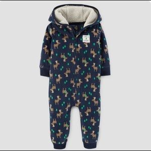 Carter's 3M Baby Boy Navy Hooded Moose Jumpsuit